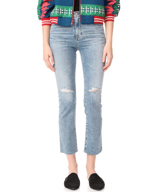 AG Jeans | Blue The Isabelle Straight Crop Jeans | Lyst