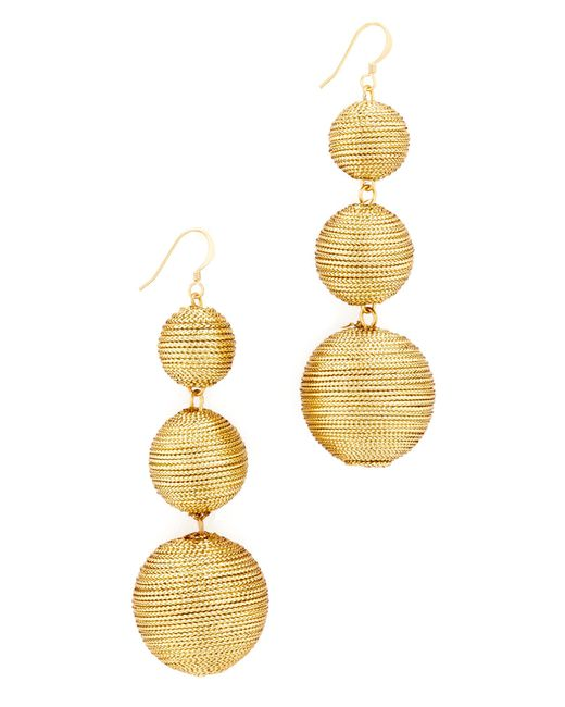 Kenneth Jay Lane | Metallic 3 Tier Ball Drop Earring | Lyst