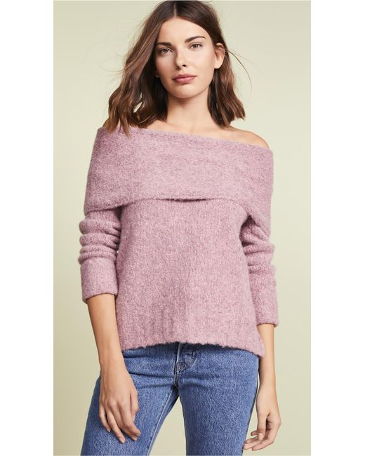 c9ff8b331a Lyst - Vince Off-shoulder Alpaca Pullover Sweater in Pink - Save 39%
