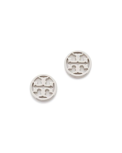 Tory Burch | Metallic Logo Circle Stud Earrings | Lyst