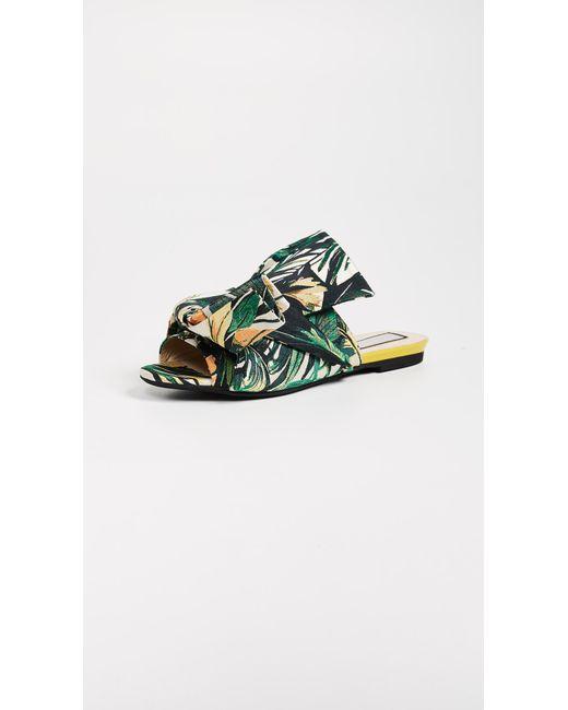 N°21 - Multicolor Jacquard Knot Slide Sandals - Lyst