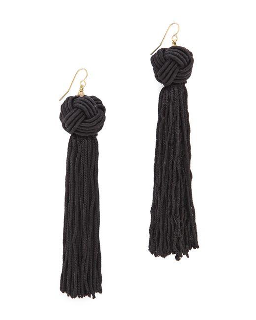 Vanessa Mooney | Black The Astrid Knotted Tassel Earrings | Lyst