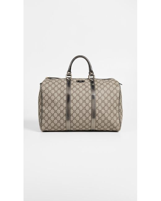47fc80d45e26 What Goes Around Comes Around - Metallic Gucci Silver Coated Canvas Joy  Boston Bag - Lyst ...