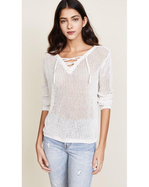 BB Dakota - White Lily Lace Up Sweater - Lyst