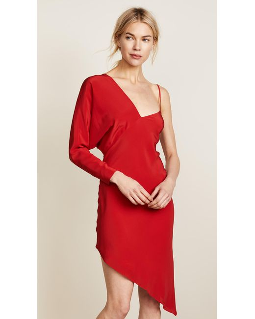 Michelle Mason - Red One Sleeve Dress - Lyst