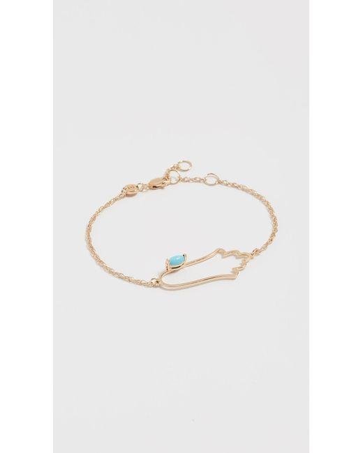 Jennifer Zeuner - Metallic Open Hamsa Bracelet With Turquoise - Lyst