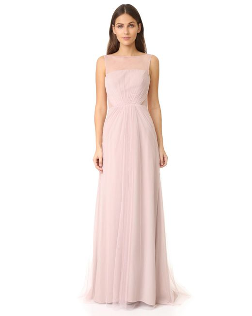 Monique Lhuillier Bridesmaids | Multicolor Tulle Illusions Cut Out Gown | Lyst