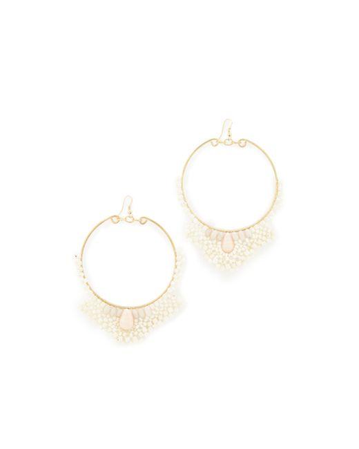 Kenneth Jay Lane | White Seed Bead Hoop Earrings | Lyst