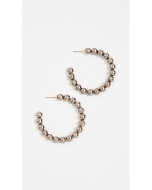 Lele Sadoughi - Black Imitation Pearl Hoop Earrings - Lyst