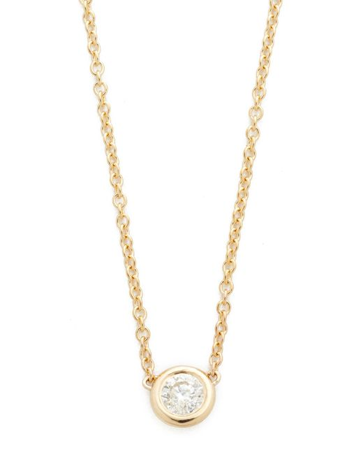 Zoe Chicco   Metallic Bezel Diamond Short Pendant Necklace   Lyst