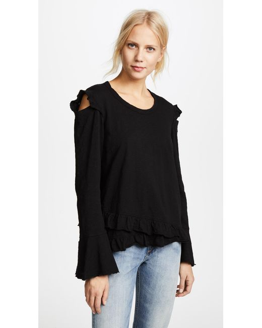 Wilt - Black Raw Ruffle Cold Shoulder Tee - Lyst