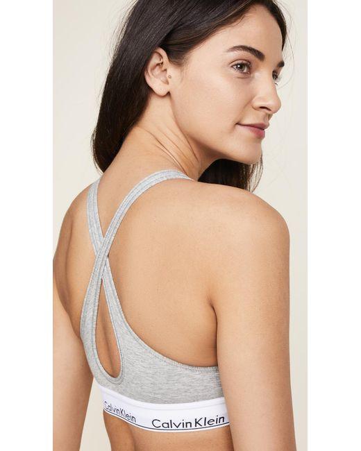 9854cbbf893c44 Calvin Klein Bralette - Modern Cotton in Gray - Save 59% - Lyst