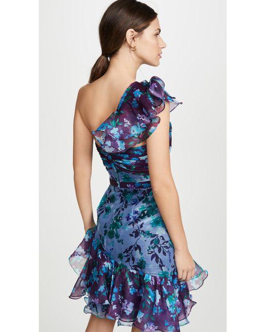 ef1fd2552f1 ... Marchesa notte - Blue One Shoulder Colorblock Cocktail - Lyst ...