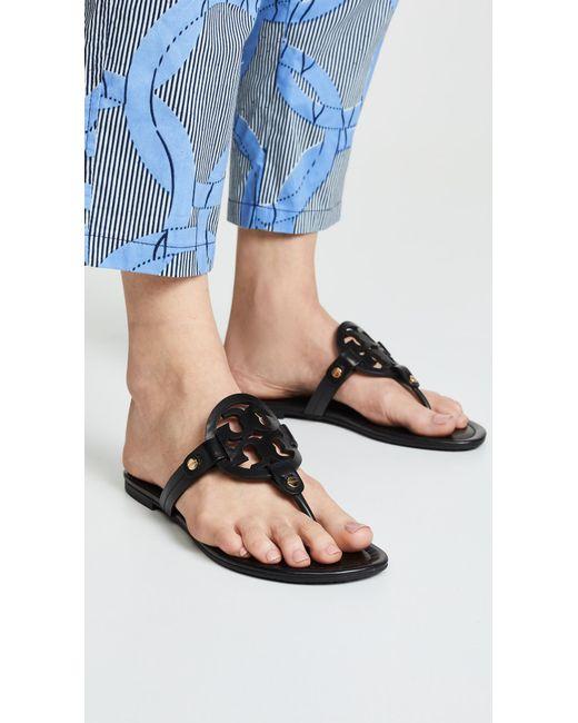 5dc4f19bbd0e7e ... Tory Burch - Black Miller Thong Sandals - Lyst ...