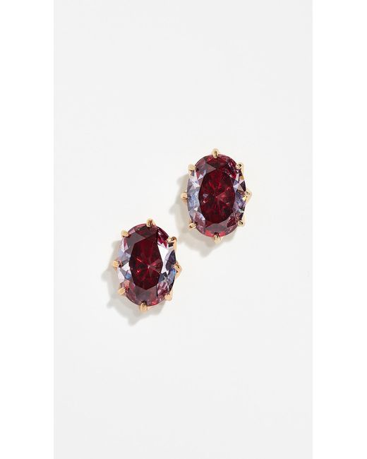 Kate Spade - Red Shine On Oval Studs - Lyst