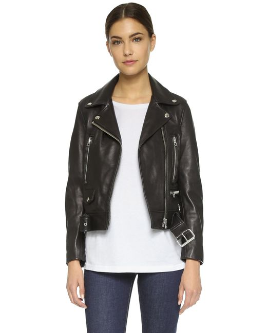 Acne | Black Mock Leather Jacket | Lyst