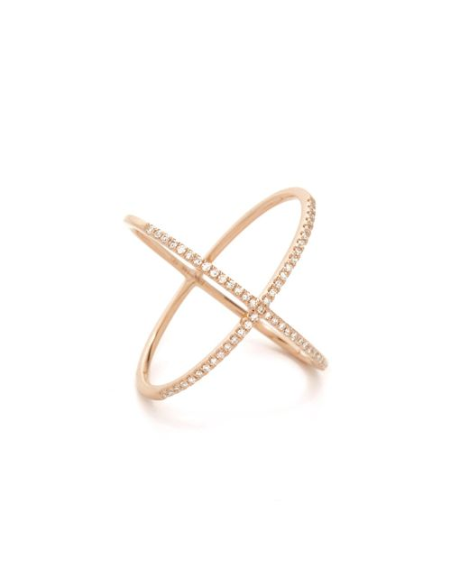 EF Collection | Pink Pave Rose Gold Diamond X Ring | Lyst