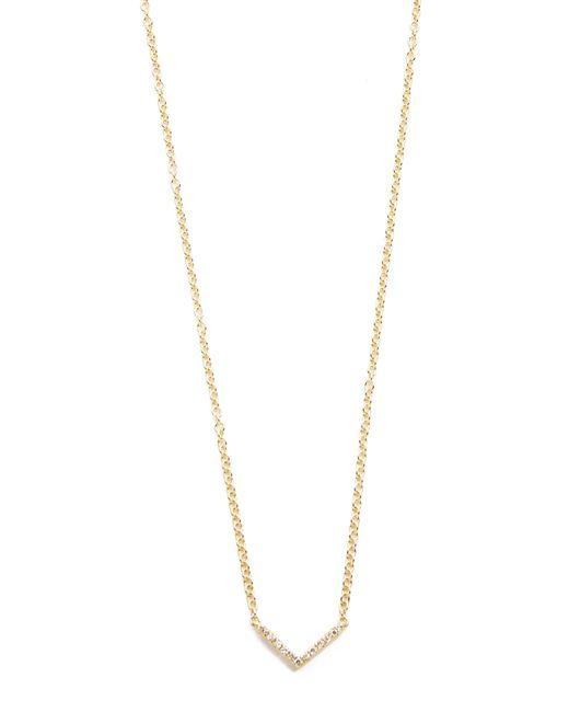 EF Collection   Metallic Diamond Mini Chevron Necklace   Lyst