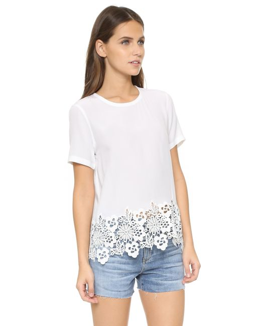 Equipment 39 riley 39 floral lace hem silk t shirt in white for Silk white t shirt