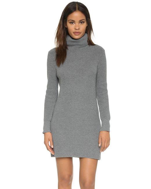 525 America | Gray Cotton Shaker Sweater Dress | Lyst