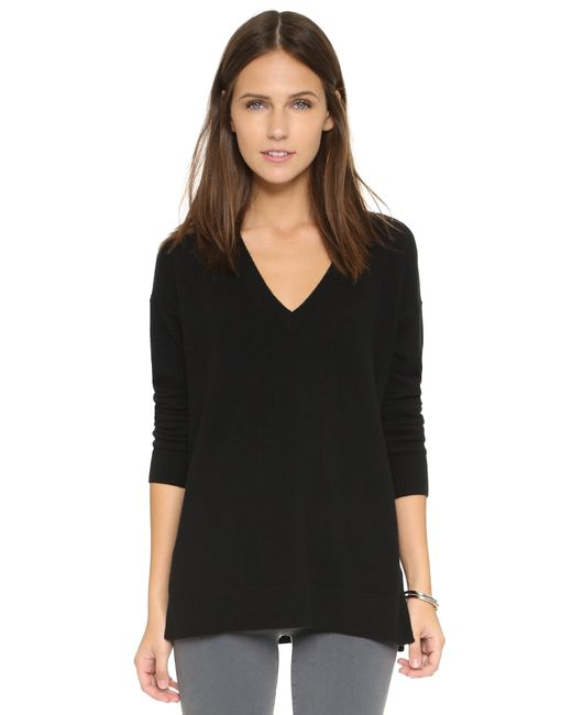525 America | Black Cashmere V Neck Sweater | Lyst