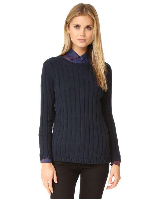 525 America | Blue Panel Rib Crew Neck Sweater | Lyst