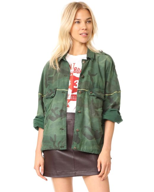 Free People | Green Slouchy Military Jacket | Lyst