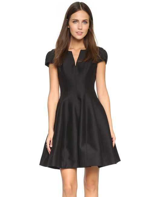 Halston Heritage | Black Notch Neck Tulip Dress | Lyst
