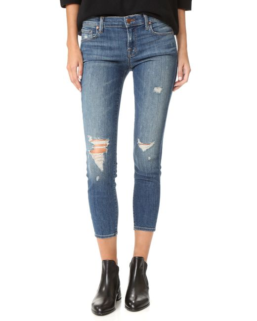J Brand | Blue Low-rise Cropped Skinny Jeans | Lyst