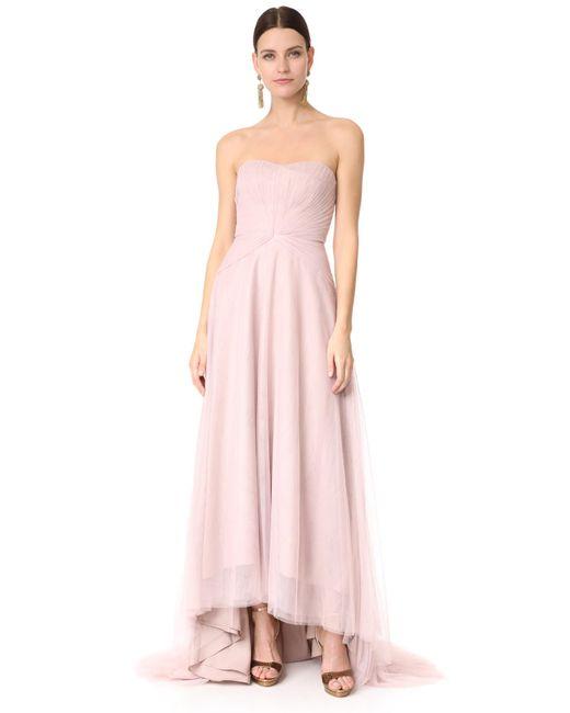Monique Lhuillier Bridesmaids | Pink Strapless Sweetheart High Low Dress | Lyst