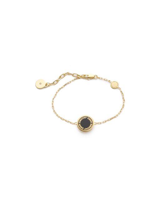 Marc Jacobs | Black Enamel Logo Disc Bracelet | Lyst
