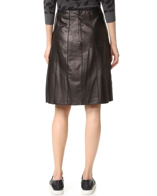 marc lambskin pleated leather skirt in