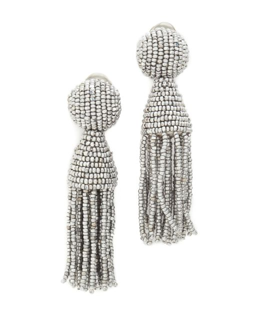 Oscar de la Renta | Metallic Short Tassel Earrings | Lyst