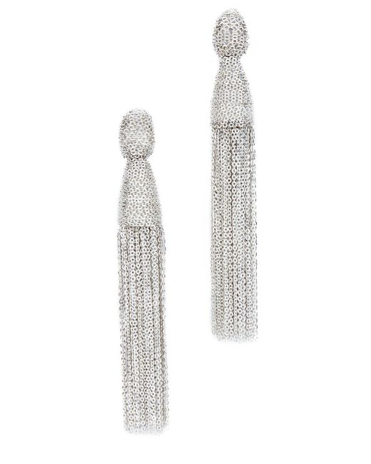 Oscar de la Renta | Metallic Classic Chain Tassel Earrings | Lyst