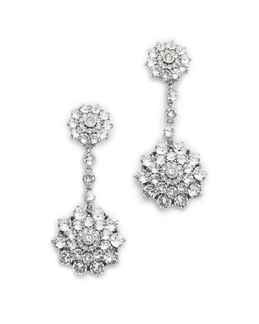 Oscar de la Renta | Metallic Classic Jeweled Drop Earrings | Lyst