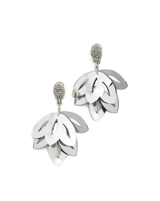 Oscar de la Renta | Metallic Floral Opaque Tulip Clip On Earrings | Lyst