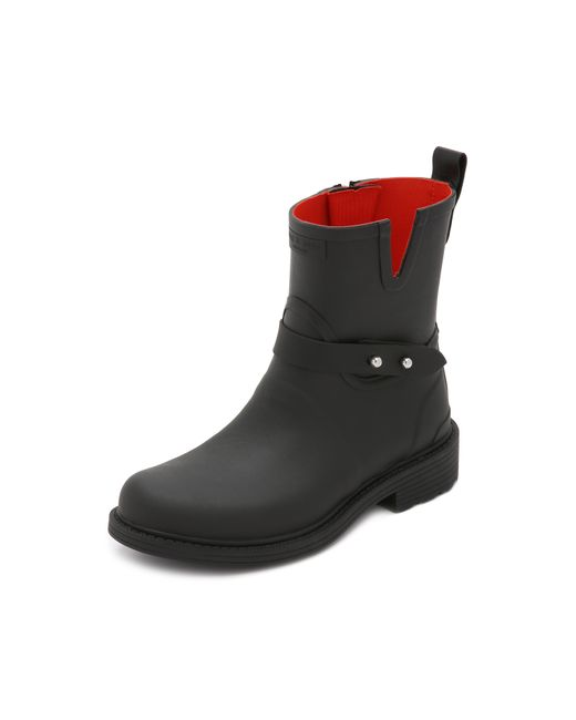Rag & Bone | Black Moto Rain Boot | Lyst