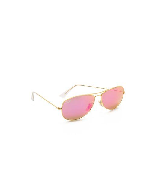 Ray-Ban | Pink Mirrored Shrunken Aviator Sunglasses | Lyst