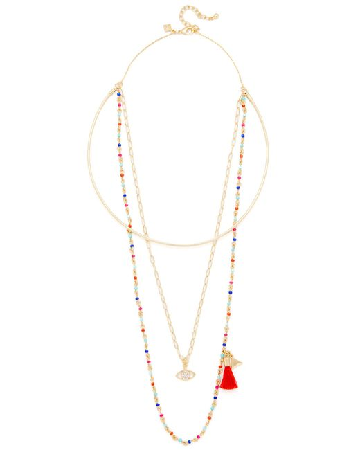 Rebecca Minkoff | Metallic Layered Seed Bead Collar Necklace | Lyst