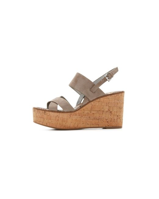 sam edelman destiny wedge sandals in beige putty lyst