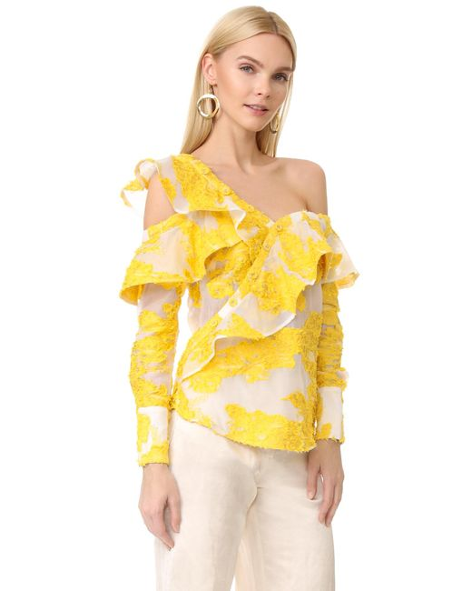 Self Portrait Asymmetrical Ruffle Blouse In Yellow Lyst
