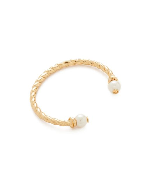 Tory Burch | Metallic Rope Logo Bead Hinge Bracelet | Lyst