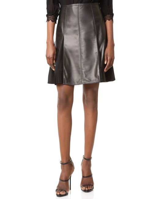 yigal azrou 235 l leather flare skirt in black lyst