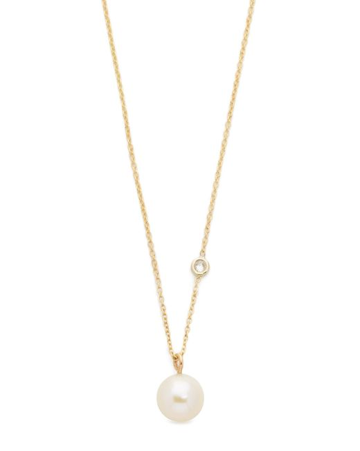 Zoe Chicco   Metallic Freshwater Cultured Pearl Necklace With Floating Diamond   Lyst