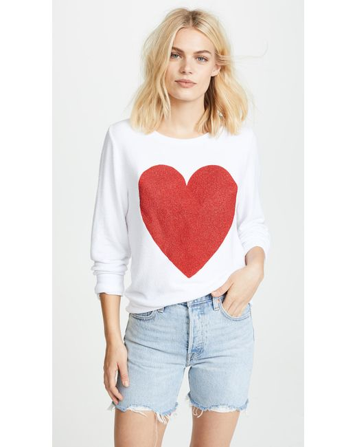 Wildfox - White Sparkle Heart Baggy Beach Pullover - Lyst