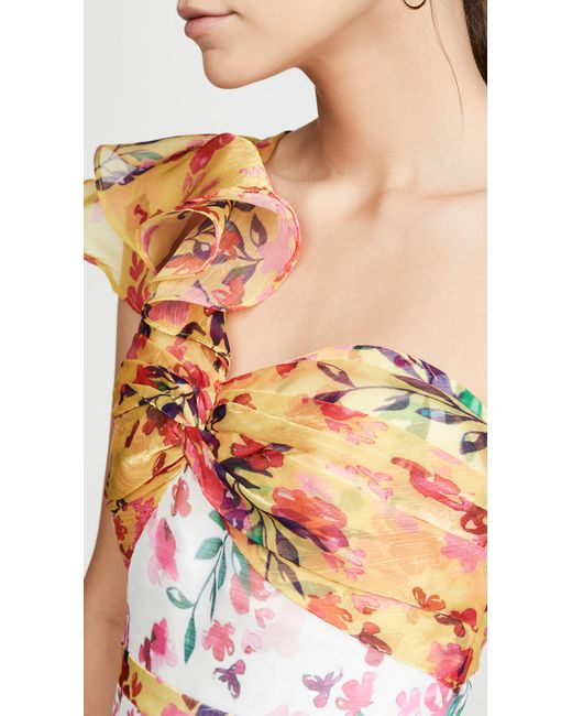 09c022c2852 ... Marchesa notte - White One Shoulder Colorblock Cocktail Dress - Lyst ...