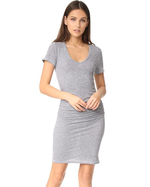 Lanston | Gray Ruched T-shirt Dress | Lyst