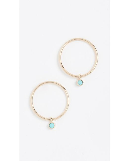 Zoe Chicco - Metallic 14k Gold Earrings With Turquoise Bezel - Lyst