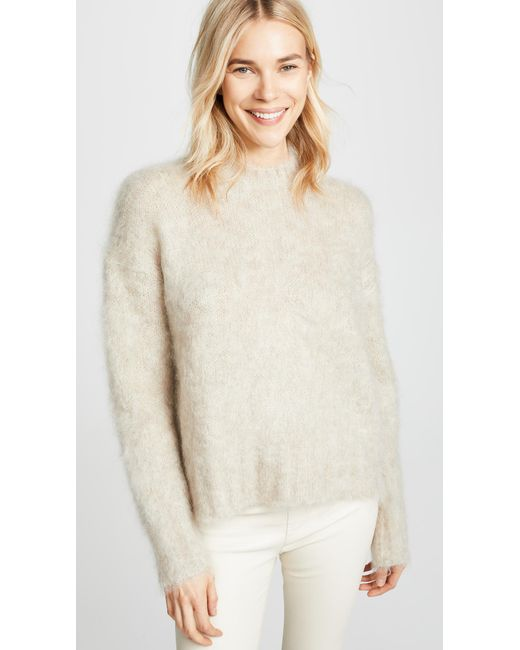 0fa480376c1a19 Helmut Lang - Natural Brushed Crew Neck Pullover - Lyst ...