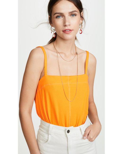 Free People Orange Marisssa Thong Bodysuit